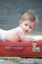 Preview iPhone wallpaper Cute baby boy and suitcase