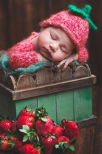 iPhone fondos de pantalla Lindo bebé durmiendo, caja, fresa