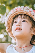 Preview iPhone wallpaper Cute little girl, hat, twigs, leaves