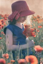 Cute little girl, red poppies flowers