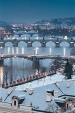 Preview iPhone wallpaper Czech Republic, Prague, cityscape, winter, snow, bridge, river