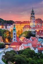 República tcheca, rio vltava, cidade, pôr do sol