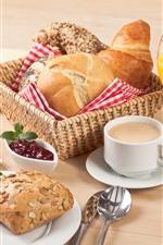 iPhone fondos de pantalla Delicioso desayuno, pan, fresa, jugo