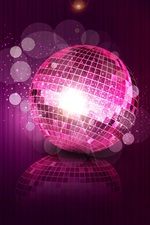 Disco ball, purple, sparks, sequins