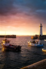 Preview iPhone wallpaper Donaghadee, UK, boats, sea, lighthouse, sunset