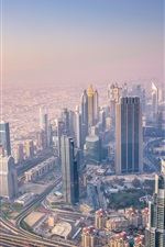 Preview iPhone wallpaper Dubai, UAE, skyscrapers, morning, sunrise, fog