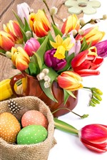 Easter, cup, colorful tulip flowers, eggs