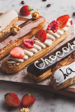 Preview iPhone wallpaper Eclairs cakes, strawberry, chocolate, dessert