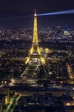 iPhone обои Эйфелева башня, городская ночь, освещение, Париж, Франция
