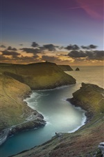 Preview iPhone wallpaper England, Cornwall, Boscastle Harbour, sea, coast, clouds, sunset