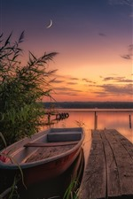 England, North Yorkshire, boats, river, sunset