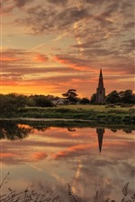 England, Trent River, church, trees, clouds, sunset