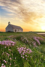 Preview iPhone wallpaper England, Wales, sunset, house, wildflowers, clouds