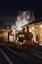 Preview iPhone wallpaper England, retro style, train, station, night