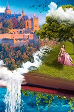 Preview iPhone wallpaper Fantasy, book, castle, tree, girl, waterfall, creative design