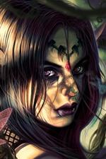 Preview iPhone wallpaper Fantasy girl, elf, purple eyes