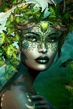 Preview iPhone wallpaper Fantasy girl, leaves, white hair