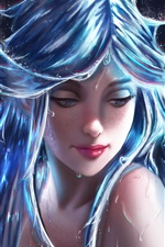 Fantasy girl, water hair, art picture