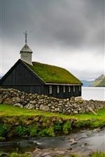 미리보기 iPhone 배경 화면 페로 제도, 교회, 바다, 덴마크