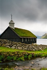 Preview iPhone wallpaper Faroe Islands, Church, sea, Denmark