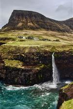 Färöer, Wasserfälle, Meer, Klippe, Dorf