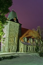 Preview iPhone wallpaper Finland, Church, trees, night