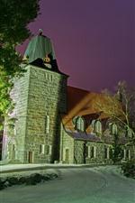 미리보기 iPhone 배경 화면 핀란드, 교회, 나무, 밤