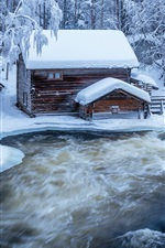 Preview iPhone wallpaper Finland, snow, river, trees, hut