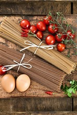 Preview iPhone wallpaper Food, pasta, noodle, tomatoes, eggs