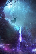 Preview iPhone wallpaper Forest, bright deers, creative picture