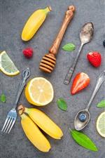 Fruit, banana, orange, kiwi, blueberry, strawberry, spoon, fork