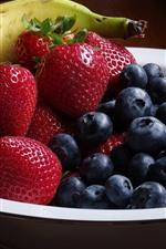 Preview iPhone wallpaper Fruit, blueberries, strawberry, banana, bowl, still life