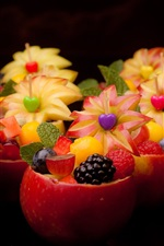 Preview iPhone wallpaper Fruit dessert, delicious food, apple bowl and flower, creative