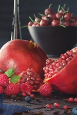 Preview iPhone wallpaper Fruit, still life, pomegranate, strawberry, blueberry, raspberry