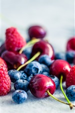 Preview iPhone wallpaper Fruit, strawberry, blueberry, raspberry