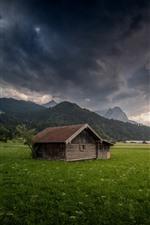 Preview iPhone wallpaper Germany, Bayern, Garmisch-Partenkirchen, houses, fields, mountains, thick clouds