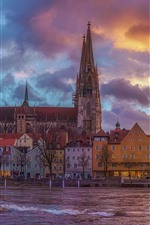 Preview iPhone wallpaper Germany, Bayern, city, houses, river, bridge, clouds, dusk