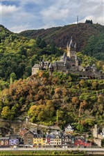 Preview iPhone wallpaper Germany, Cochem, forest, mountains, river, houses, castle