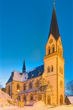 Germany, church, castle, snow, winter
