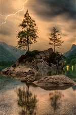 Alemanha, lago, ilha, árvores, nuvens, relampago