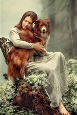 Preview iPhone wallpaper Girl and dog in the forest, fog, art photography