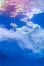 Preview iPhone wallpaper Girl underwater, skirt, violin, beautiful