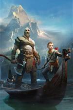 미리보기 iPhone 배경 화면 갓 오브 워, PS4 게임, 보트, 강