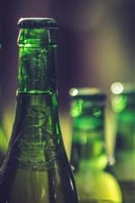 Green bottles, drinks, bokeh