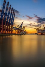 Hamburg, Germany, port, sea, sunset