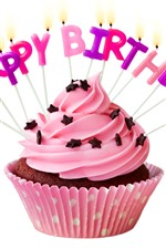 Preview iPhone wallpaper Happy Birthday, pink cake, candles, white background