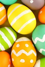Happy Easter, many colorful eggs