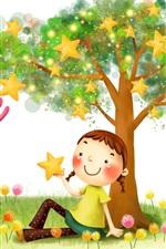 Happy child, little girl, bear, stars, tree, art picture