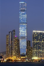 Hong kong, china, cidade, arranha-céu, noturna, luzes
