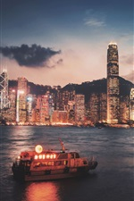 Hong Kong, Victoria porto, arranha-céus, iluminação, noite, mar, navio